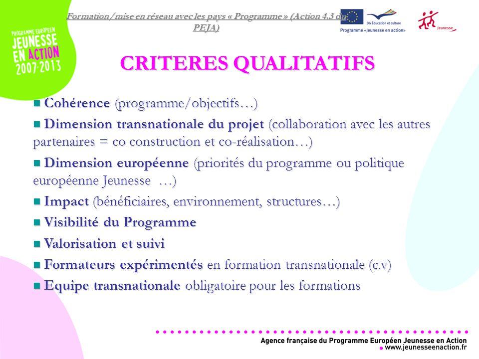 Formation/mise en réseau avec les pays « Programme » (Action 4.3 du PEJA) CRITERES QUALITATIFS Cohérence (programme/objectifs…) Cohérence (programme/objectifs…) Dimension transnationale du projet (collaboration avec les autres partenaires = co construction et co-réalisation…) Dimension transnationale du projet (collaboration avec les autres partenaires = co construction et co-réalisation…) Dimension européenne (priorités du programme ou politique européenne Jeunesse …) Dimension européenne (priorités du programme ou politique européenne Jeunesse …) Impact (bénéficiaires, environnement, structures…) Impact (bénéficiaires, environnement, structures…) Visibilité du Programme Visibilité du Programme Valorisation et suivi Valorisation et suivi Formateurs expérimentés en formation transnationale (c.v) Formateurs expérimentés en formation transnationale (c.v) Equipe transnationale obligatoire pour les formations Equipe transnationale obligatoire pour les formations