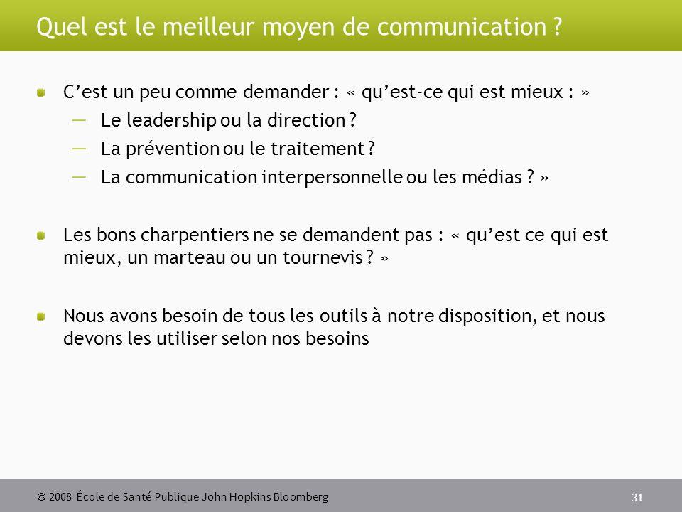 2008 École de Santé Publique John Hopkins Bloomberg 31 Quel est le meilleur moyen de communication .