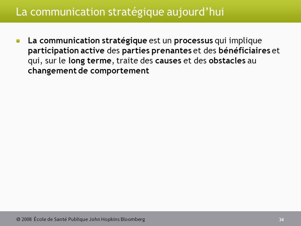 2008 École de Santé Publique John Hopkins Bloomberg 34 La communication stratégique aujourdhui La communication stratégique est un processus qui implique participation active des parties prenantes et des bénéficiaires et qui, sur le long terme, traite des causes et des obstacles au changement de comportement
