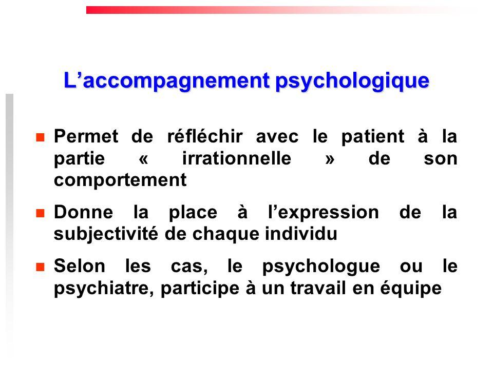 Laccompagnement psychologique Permet de réfléchir avec le patient à la partie « irrationnelle » de son comportement Donne la place à lexpression de la