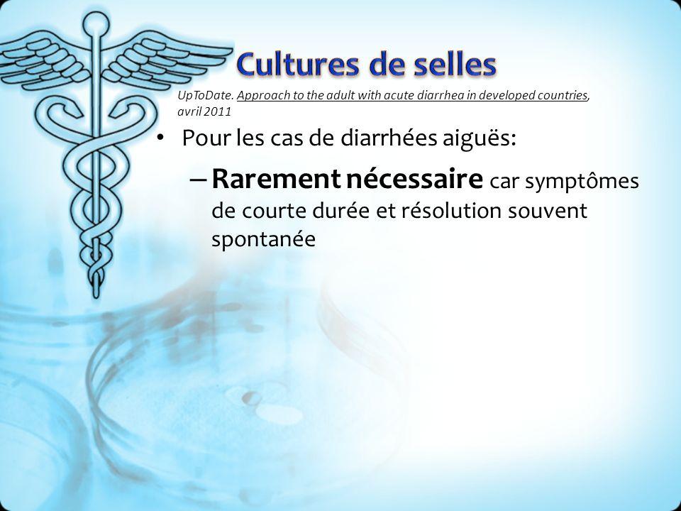 Indications: – Immunosuppression – Patient avec plusieurs comorbidités augmentent risques de complications – Diarrhées inflammatoires sanglantes – Patients avec maladie colique inflammatoire (Crohns, Colite ulcéreuse) distinction dune récidive vs.