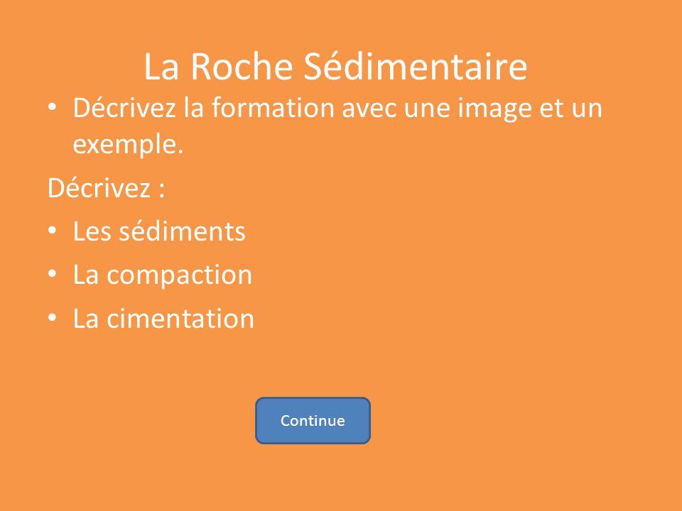 La Roche Sédimentaire Décrivez la formation avec une image et un exemple. Décrivez : Les sédiments La compaction La cimentation Continue