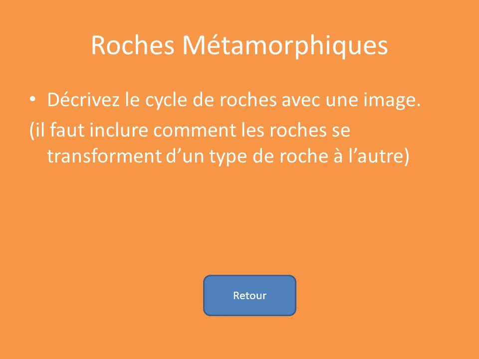 Roches Métamorphiques Décrivez le cycle de roches avec une image. (il faut inclure comment les roches se transforment dun type de roche à lautre) Reto