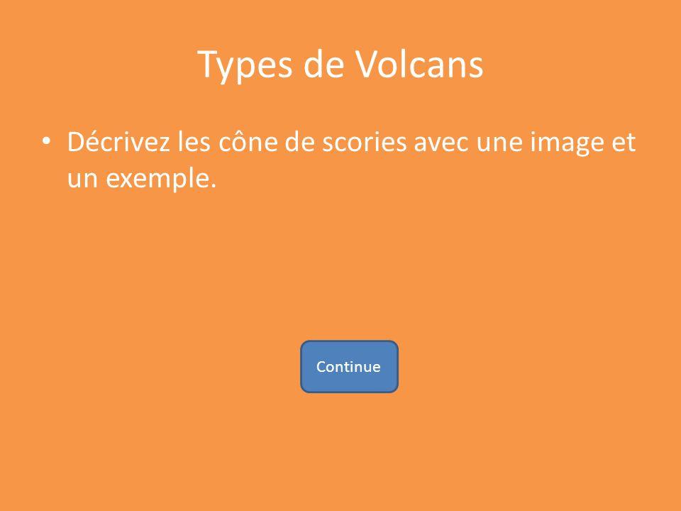 Types de Volcans Décrivez les cône de scories avec une image et un exemple. Continue