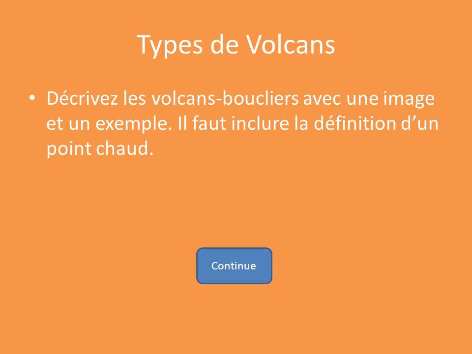 Types de Volcans Décrivez les volcans-boucliers avec une image et un exemple. Il faut inclure la définition dun point chaud. Continue