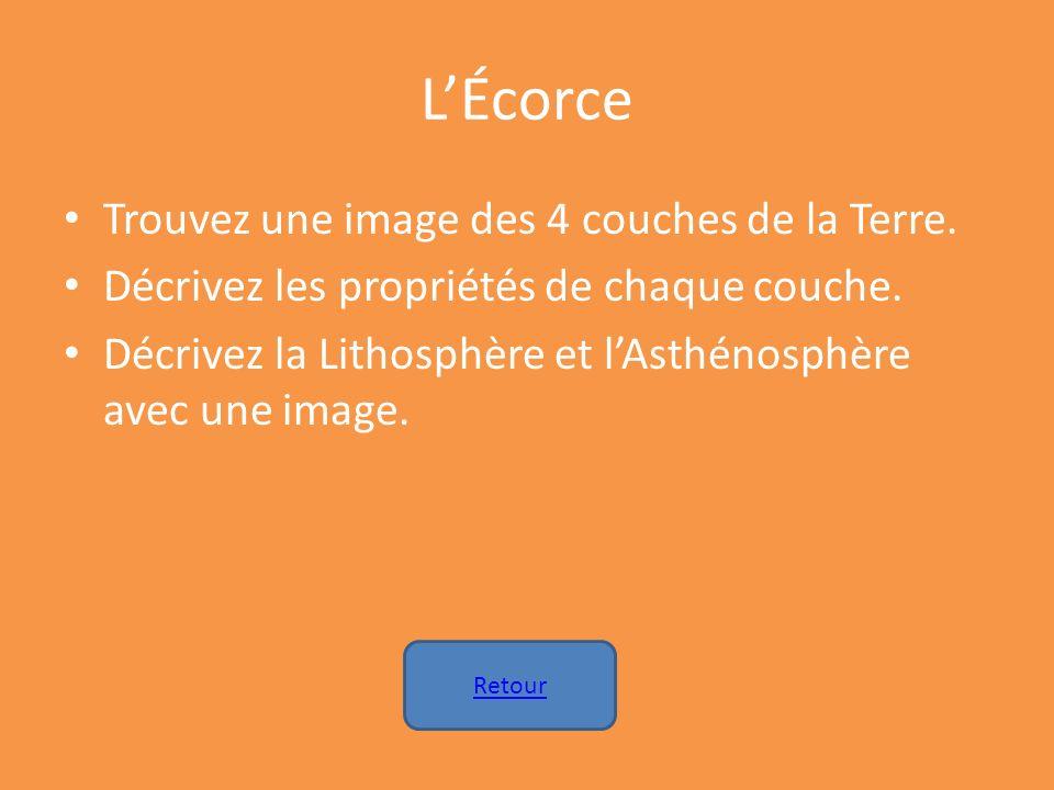 LÉcorce Trouvez une image des 4 couches de la Terre. Décrivez les propriétés de chaque couche. Décrivez la Lithosphère et lAsthénosphère avec une imag