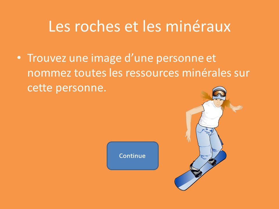 Les roches et les minéraux Trouvez une image dune personne et nommez toutes les ressources minérales sur cette personne. Continue