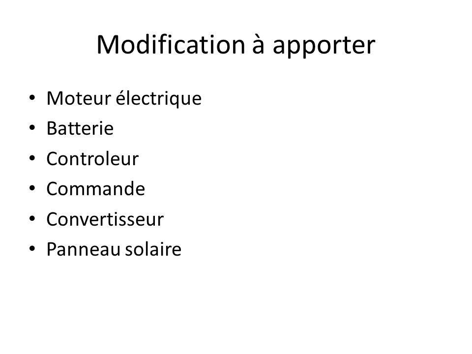 Modification à apporter Moteur électrique Batterie Controleur Commande Convertisseur Panneau solaire