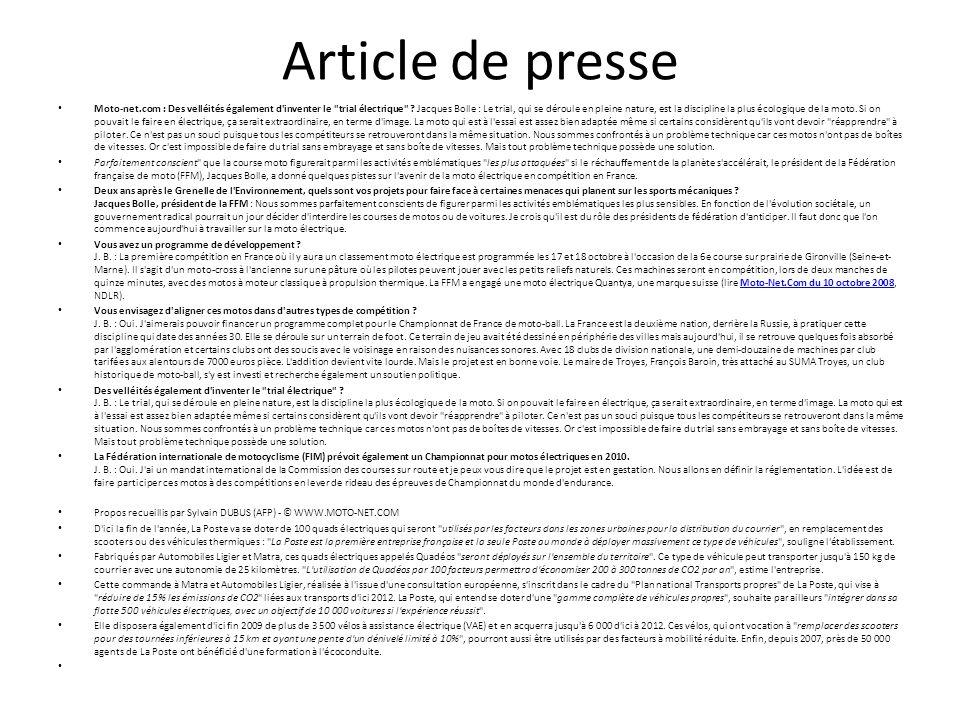 Article de presse Moto-net.com : Des velléités également d inventer le trial électrique .