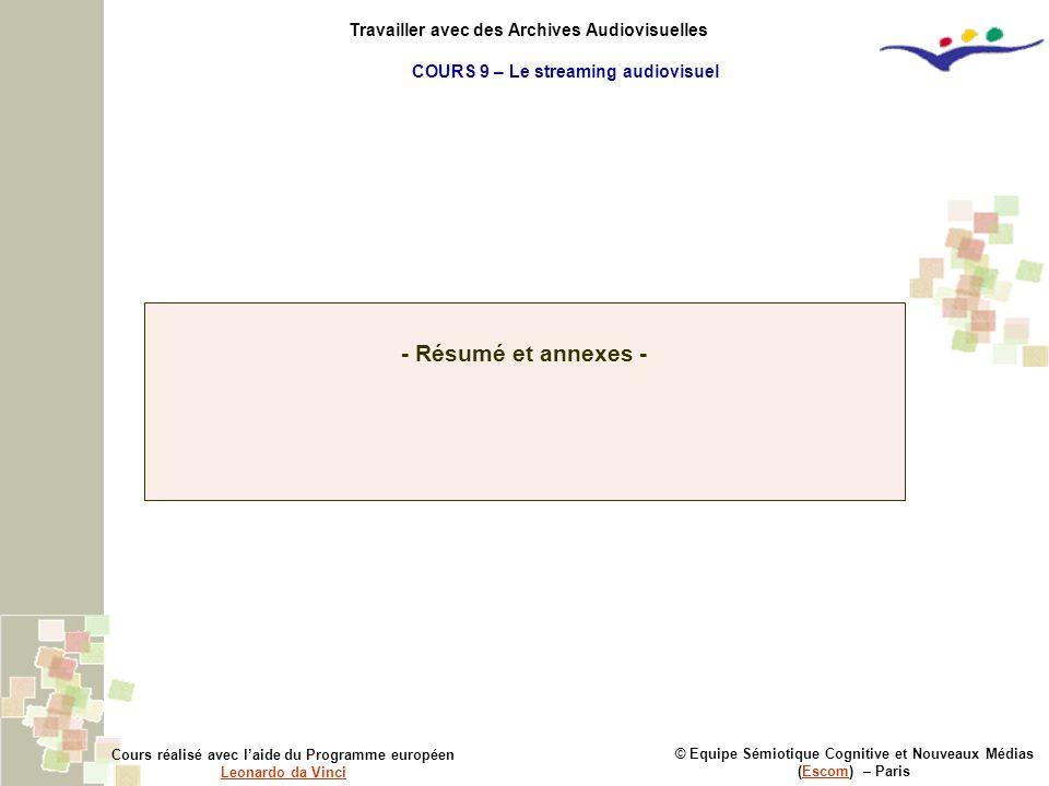 © Equipe Sémiotique Cognitive et Nouveaux Médias (Escom) – ParisEscom Cours réalisé avec laide du Programme européen Leonardo da Vinci Leonardo da Vin