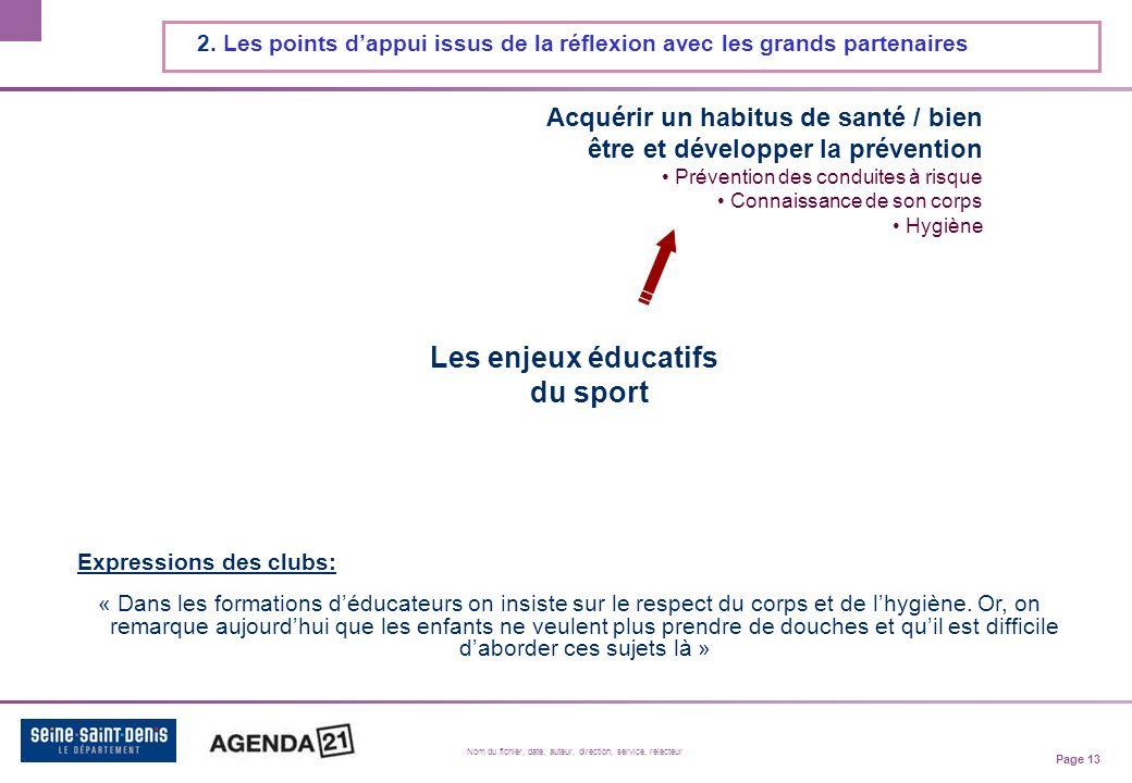 Page 13 Nom du fichier, date, auteur, direction, service, relecteur 2.
