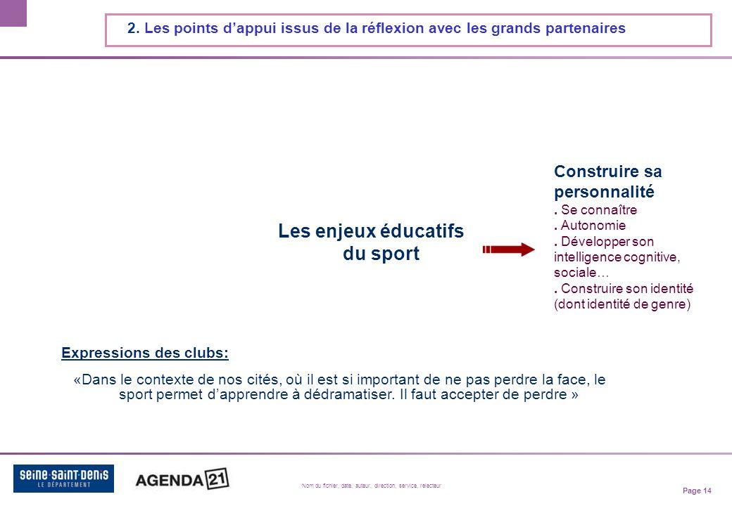 Page 14 Nom du fichier, date, auteur, direction, service, relecteur 2.