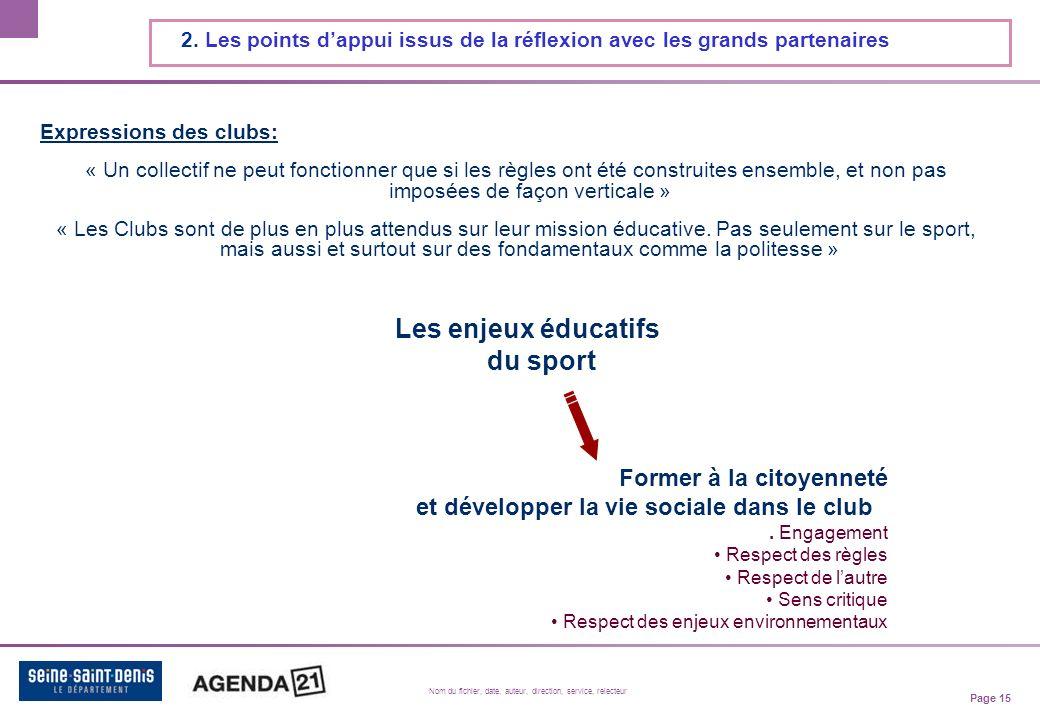 Page 15 Nom du fichier, date, auteur, direction, service, relecteur 2.