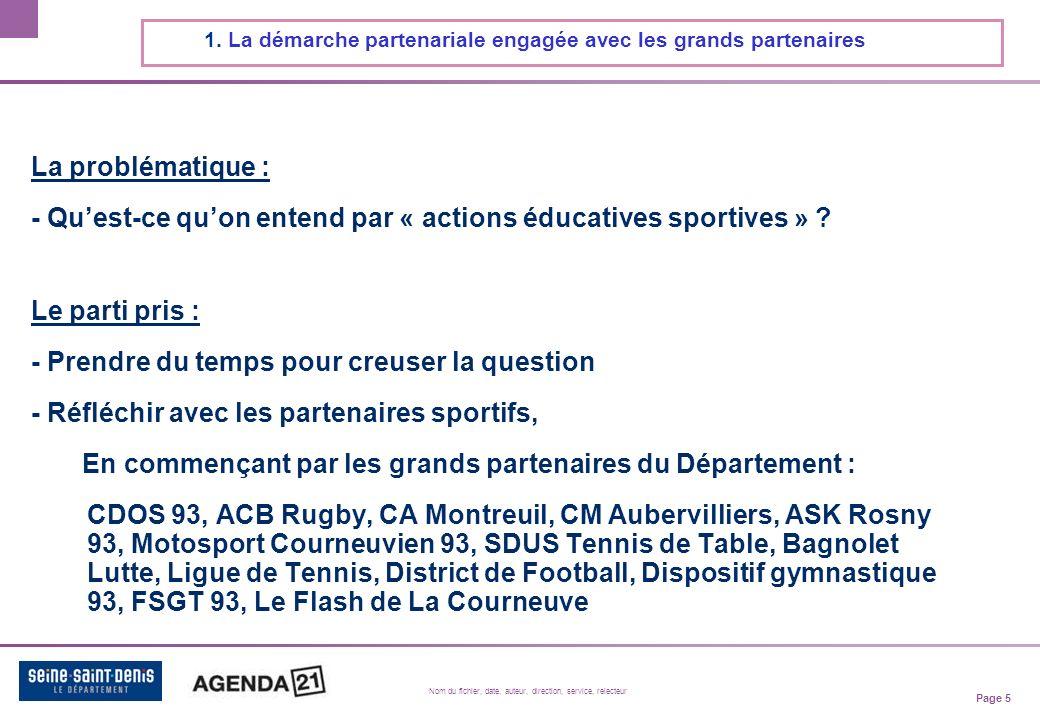 Page 5 Nom du fichier, date, auteur, direction, service, relecteur La problématique : - Quest-ce quon entend par « actions éducatives sportives » .