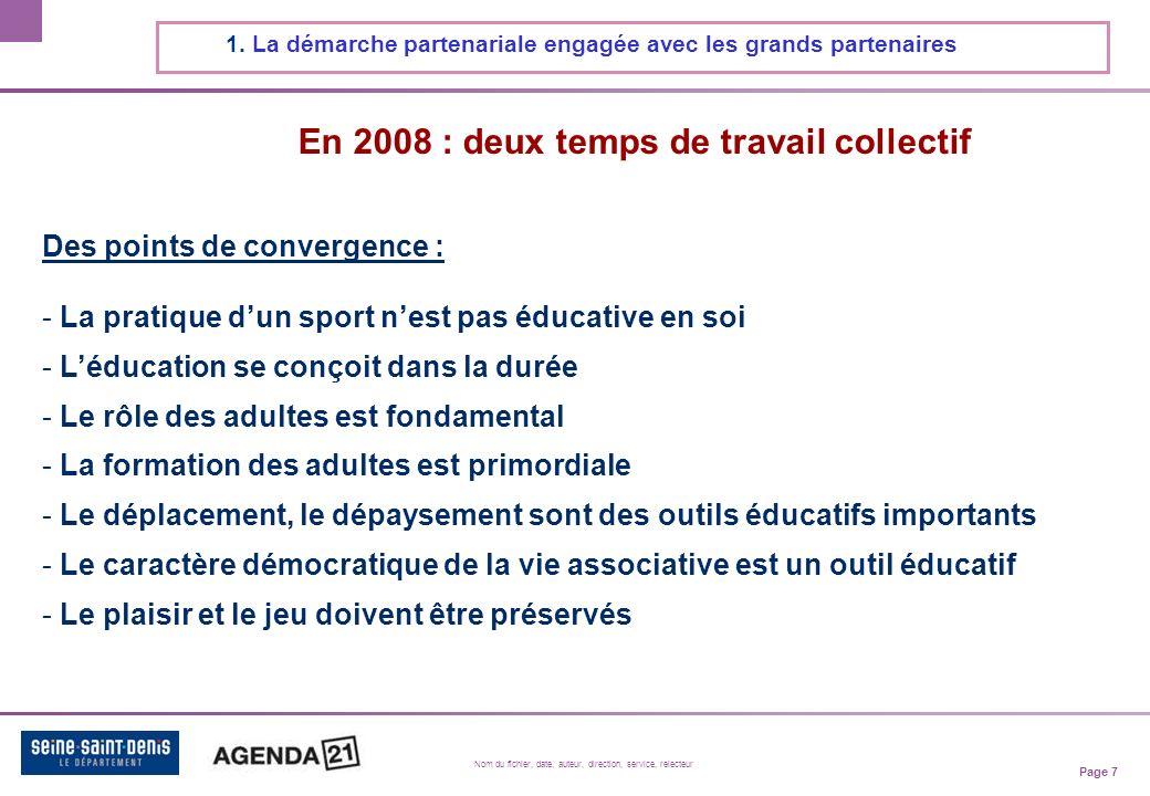 Page 7 Nom du fichier, date, auteur, direction, service, relecteur En 2008 : deux temps de travail collectif 1.