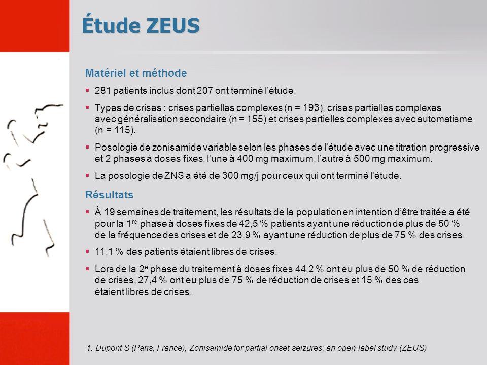 Étude ZEUS Matériel et méthode 281 patients inclus dont 207 ont terminé létude. Types de crises : crises partielles complexes (n = 193), crises partie