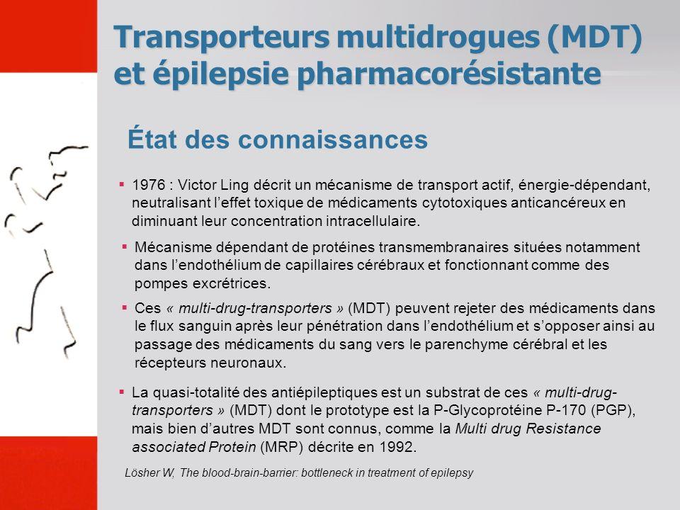 Transporteurs multidrogues (MDT) et épilepsie pharmacorésistante État des connaissances Lösher W, The blood-brain-barrier: bottleneck in treatment of