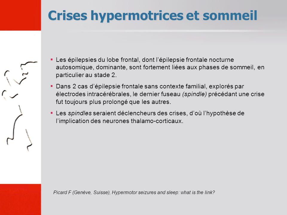 Crises hypermotrices et sommeil Les épilepsies du lobe frontal, dont lépilepsie frontale nocturne autosomique, dominante, sont fortement liées aux pha