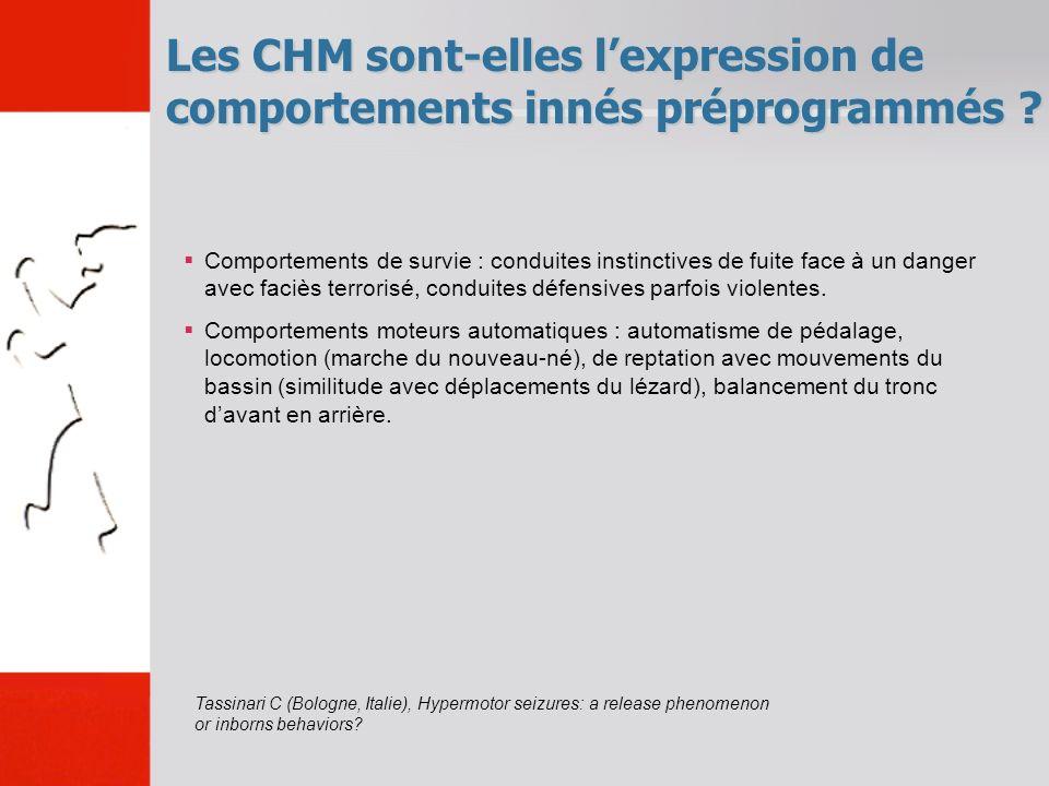 Les CHM sont-elles lexpression de comportements innés préprogrammés ? Comportements de survie : conduites instinctives de fuite face à un danger avec