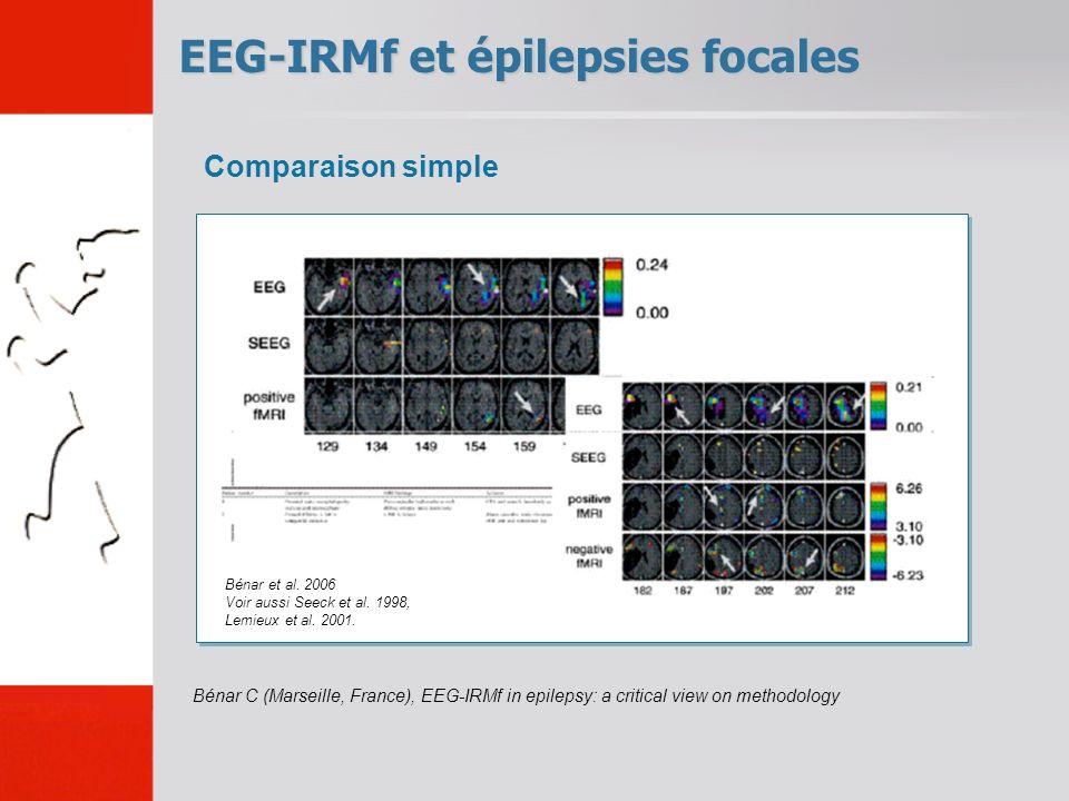 EEG-IRMf et épilepsies focales Bénar C (Marseille, France), EEG-IRMf in epilepsy: a critical view on methodology Comparaison simple Bénar et al.