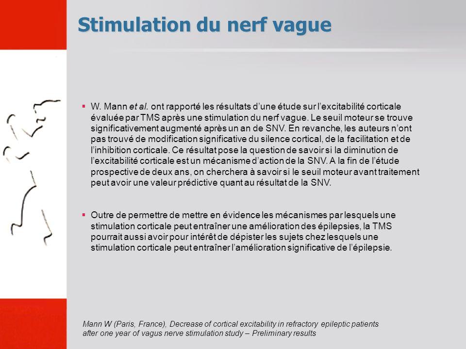 Stimulation du nerf vague W. Mann et al. ont rapporté les résultats dune étude sur lexcitabilité corticale évaluée par TMS après une stimulation du ne