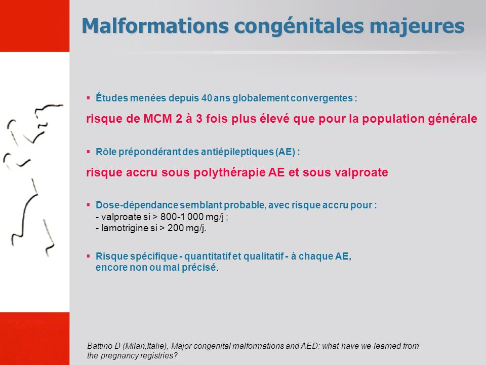 Malformations congénitales majeures Battino D (Milan,Italie), Major congenital malformations and AED: what have we learned from the pregnancy registri