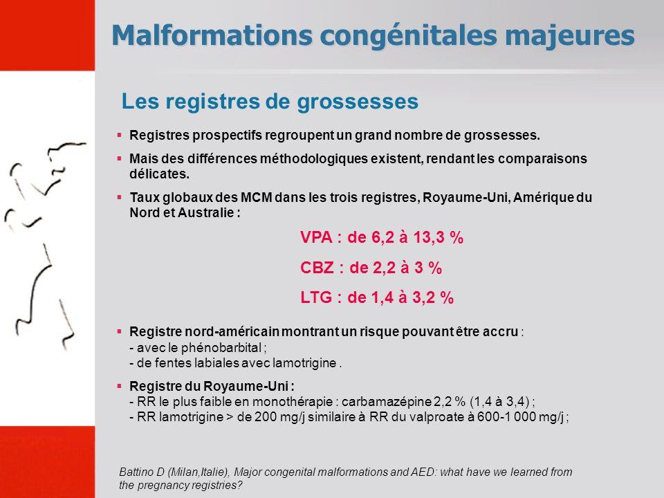 Malformations congénitales majeures VPA : de 6,2 à 13,3 % CBZ : de 2,2 à 3 % LTG : de 1,4 à 3,2 % Registres prospectifs regroupent un grand nombre de