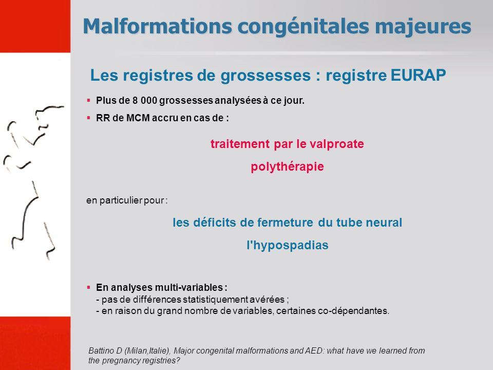 Malformations congénitales majeures traitement par le valproate polythérapie Plus de 8 000 grossesses analysées à ce jour. RR de MCM accru en cas de :