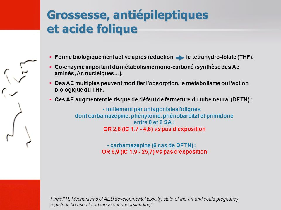 Grossesse, antiépileptiques et acide folique Finnell R, Mechanisms of AED developmental toxicity: state of the art and could pregnancy registries be used to advance our understanding.