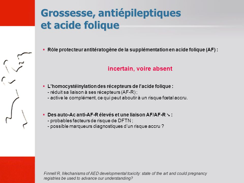 Grossesse, antiépileptiques et acide folique Finnell R, Mechanisms of AED developmental toxicity: state of the art and could pregnancy registries be u
