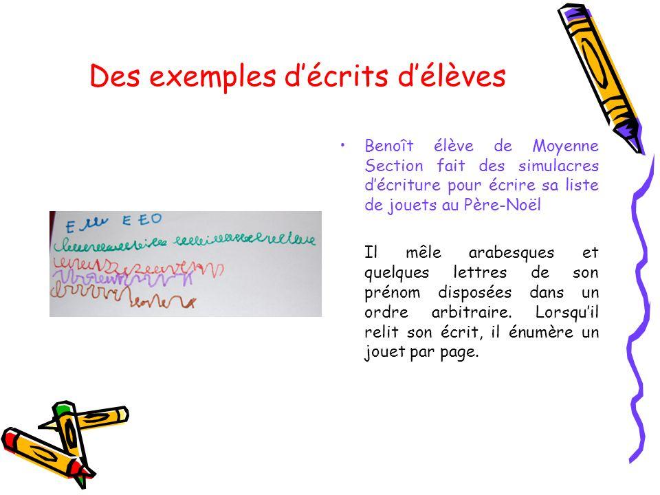 Des exemples décrits délèves Benoît élève de Moyenne Section fait des simulacres décriture pour écrire sa liste de jouets au Père-Noël Il mêle arabesq