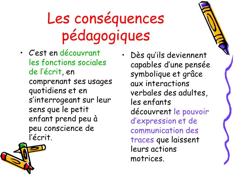 Les conséquences pédagogiques Cest en découvrant les fonctions sociales de lécrit, en comprenant ses usages quotidiens et en sinterrogeant sur leur se