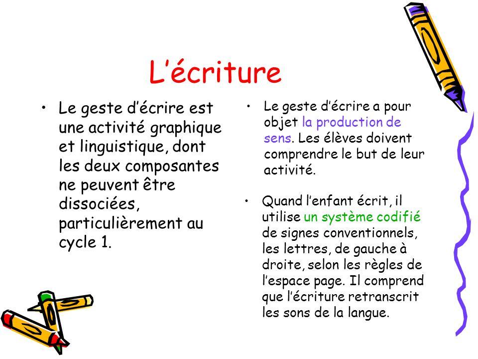 Lécriture Le geste décrire est une activité graphique et linguistique, dont les deux composantes ne peuvent être dissociées, particulièrement au cycle