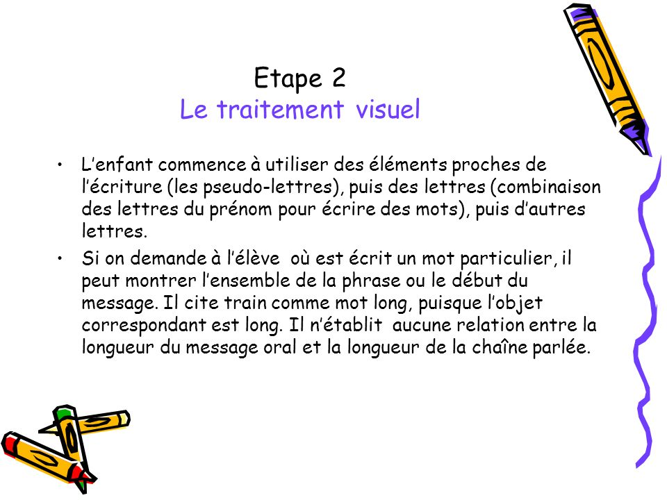 Etape 2 Le traitement visuel Lenfant commence à utiliser des éléments proches de lécriture (les pseudo-lettres), puis des lettres (combinaison des let