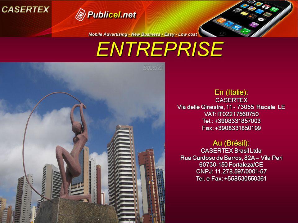 En (Italie): CASERTEX Via delle Ginestre, 11 - 73055 Racale LE VAT: IT02217560750 Tel.: +3908331857003 Fax: +3908331850199 Fax: +3908331850199 Au (Brésil): CASERTEX Brasil Ltda Rua Cardoso de Barros, 82A – Vila Peri 60730-150 Fortaleza/CE CNPJ: 11.278.597/0001-57 Tel.