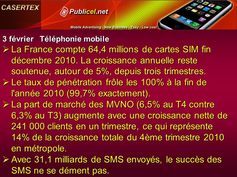 3 février Téléphonie mobile La France compte 64,4 millions de cartes SIM fin décembre 2010.