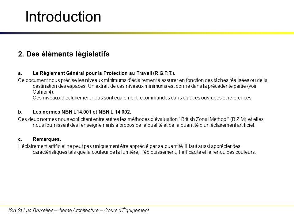 ISA St Luc Bruxelles – 4ieme Architecture – Cours dÉquipement Introduction 2. Des éléments législatifs a.Le Règlement Général pour la Protection au Tr