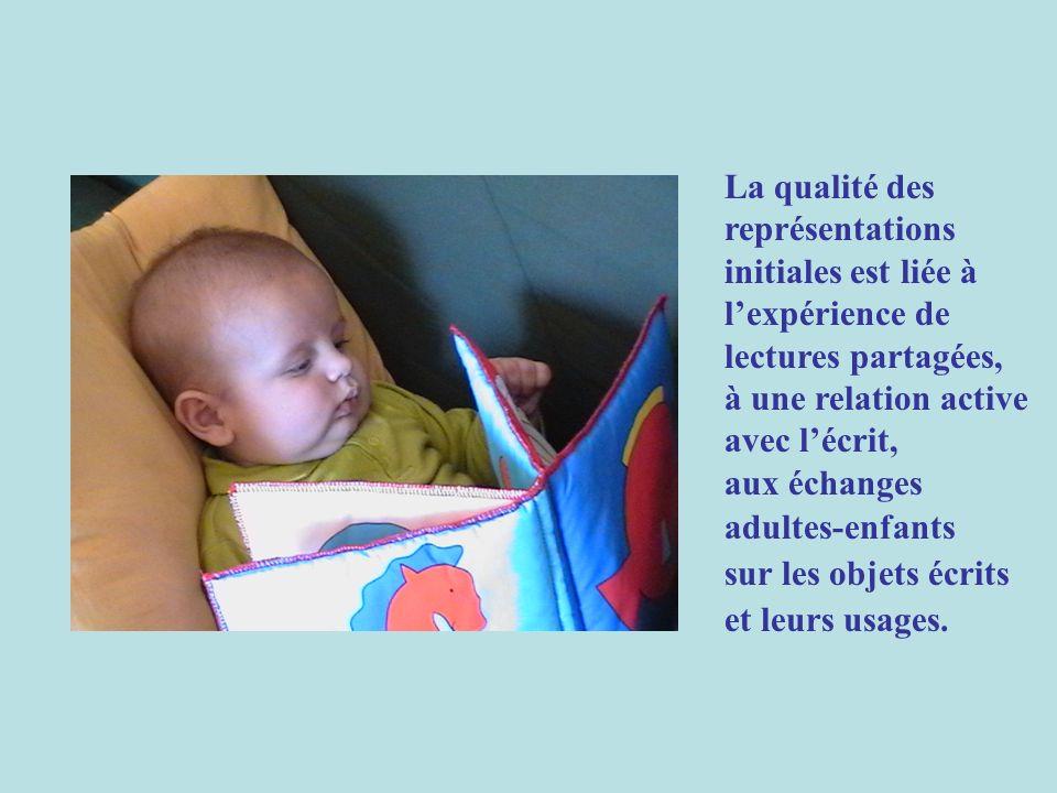 La qualité des représentations initiales est liée à lexpérience de lectures partagées, à une relation active avec lécrit, aux échanges adultes-enfants