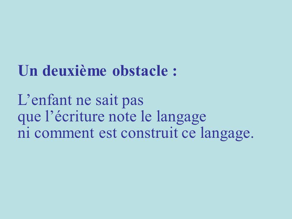 Un deuxième obstacle : Lenfant ne sait pas que lécriture note le langage ni comment est construit ce langage.