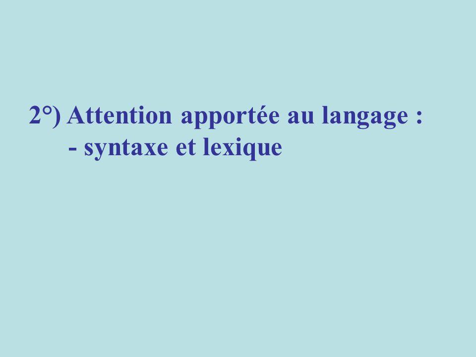 - syntaxe et lexique