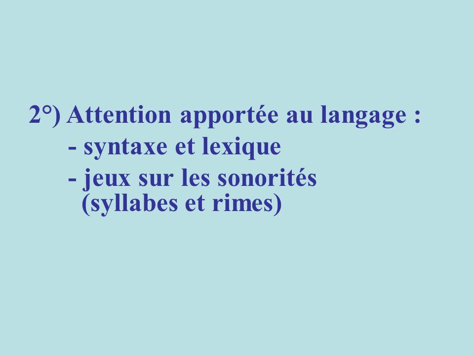2°) Attention apportée au langage : - syntaxe et lexique - jeux sur les sonorités (syllabes et rimes)