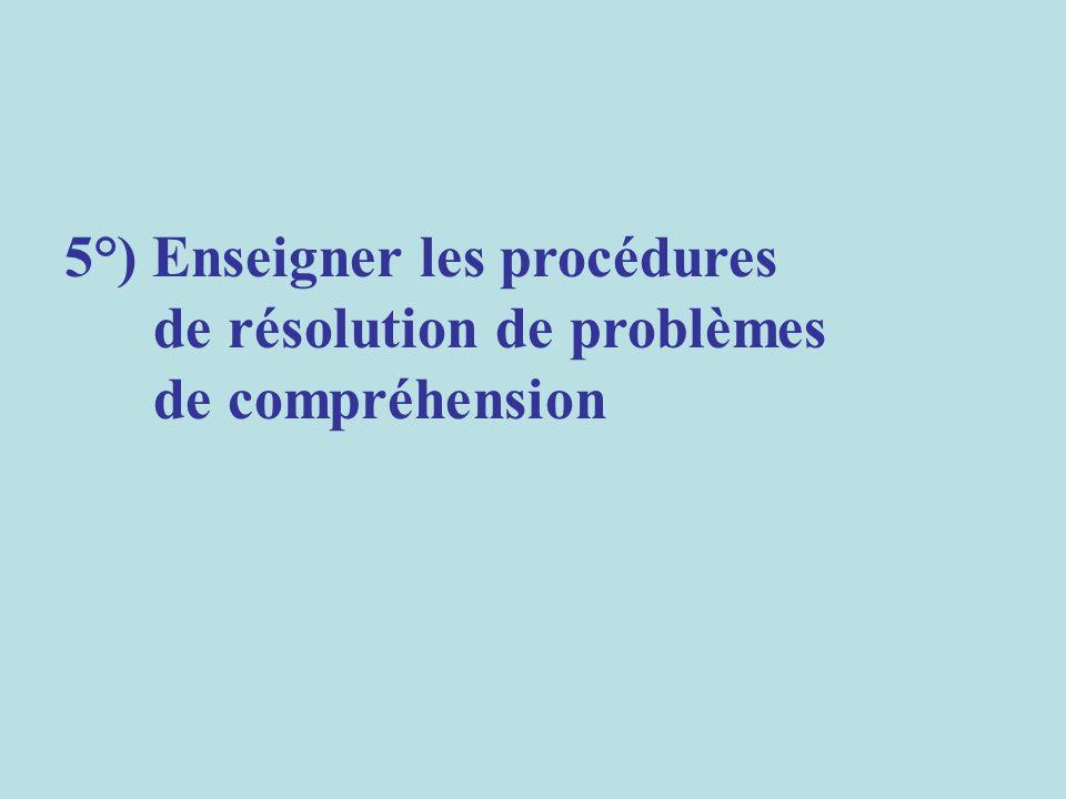 5°) Enseigner les procédures de résolution de problèmes de compréhension