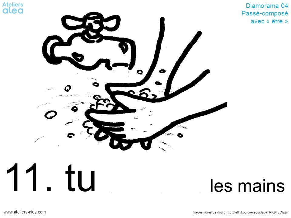 Images libres de droit : http://tell.fll.purdue.edu/JapanProj/FLClipart www.ateliers-alea.com Diamorama 04 Passé-composé avec « être » 11. tu les main