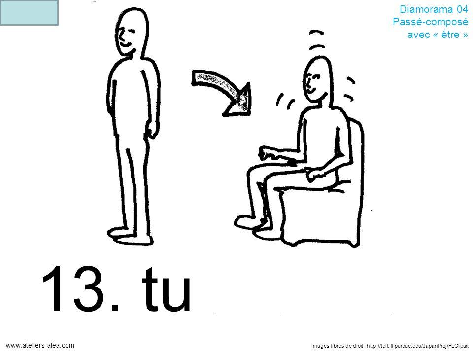 Images libres de droit : http://tell.fll.purdue.edu/JapanProj/FLClipart www.ateliers-alea.com Diamorama 04 Passé-composé avec « être » 13. tu