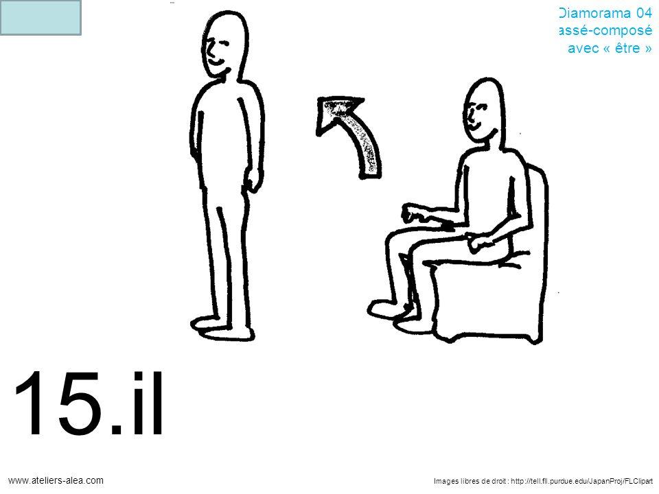 Images libres de droit : http://tell.fll.purdue.edu/JapanProj/FLClipart www.ateliers-alea.com Diamorama 04 Passé-composé avec « être » 15.il