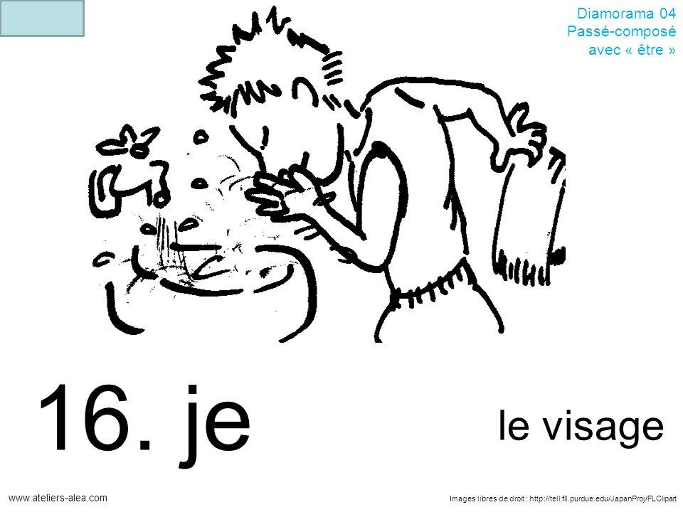 Images libres de droit : http://tell.fll.purdue.edu/JapanProj/FLClipart www.ateliers-alea.com Diamorama 04 Passé-composé avec « être » 16. je le visag