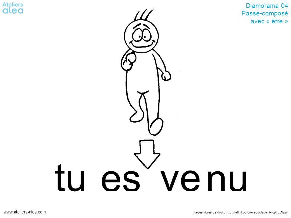 Images libres de droit : http://tell.fll.purdue.edu/JapanProj/FLClipart www.ateliers-alea.com Diamorama 04 Passé-composé avec « être » vetu nu es