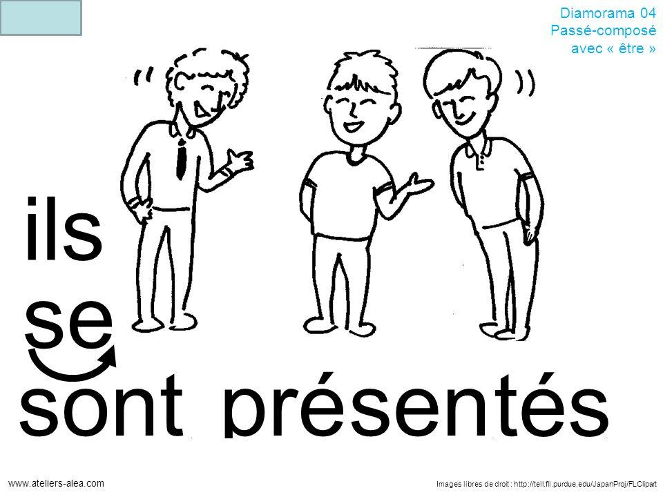 Images libres de droit : http://tell.fll.purdue.edu/JapanProj/FLClipart www.ateliers-alea.com Diamorama 04 Passé-composé avec « être » présensont ils