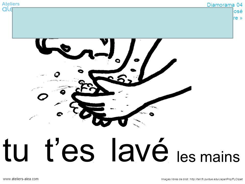Images libres de droit : http://tell.fll.purdue.edu/JapanProj/FLClipart www.ateliers-alea.com Diamorama 04 Passé-composé avec « être » vélatu tes les mains