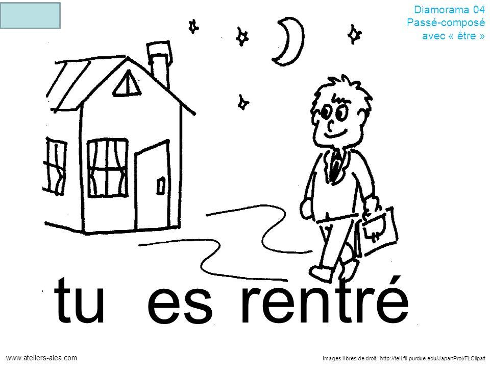 Images libres de droit : http://tell.fll.purdue.edu/JapanProj/FLClipart www.ateliers-alea.com Diamorama 04 Passé-composé avec « être » rentrétu es